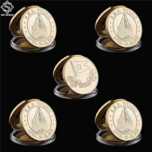 Free Shipping 5pcs 1912 The Voyage Titanic Ship Gold Plated Rms Titanic Victims Coin Of Collection Coin Art Metal Craft