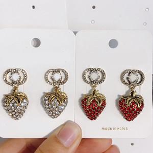 Vintage strass fraises boucles d'oreilles bling bling strass Lettre d'oreilles Accessoires Bijoux fantaisie pour Party Gift