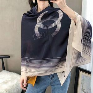 Moda de qualidade superior quatro estações marca lenços de seda camada única e longa turismo de designer xale mulheres impressão chiffon macio lenço atacado