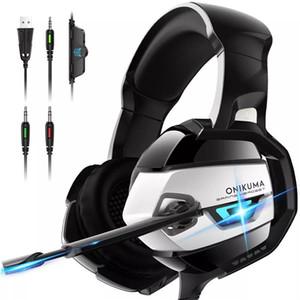 ONIKUMA K5 السلكية سماعة ستيريو سوبر باس لPS4 سماعة مع الضوضاء الغاء هيئة التصنيع العسكري LED الألعاب سماعة سماعات الأذن أكثر