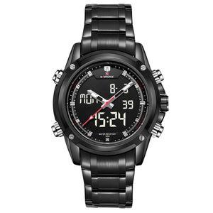 Wengle Nuovo NAVIFORCE uomini Timing casuale multifunzionale impermeabile Allarme calendario orologio mondiale orologio elettronico luminoso