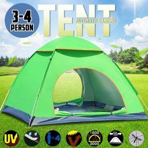 3-4 Pessoa instantâneo Up Camping Tent Waterproof Tent Double Door Outdoor automática Caminhadas Toldo Toldo Tendas