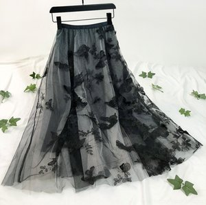 2wxK1 MIEp0 Heavy mesh 2020 three-dimensional butterfly embroidered fluffy skirt industry mid-length spring and autumn summer skirt butterfly
