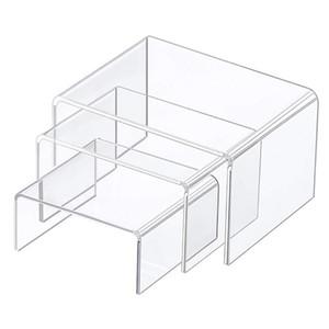 Display acrílico Risers 3 Tamaño Pasos acrílico soporte de exhibición Anti-corrosión Claro Escaparate Estante para la Figura Buffet