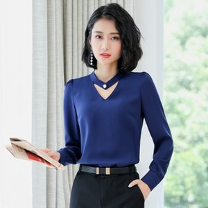 Rp6ow Korean-style professional long collar loose all-match elegant shirt fashionable white hollow-out sleeve large for slimming shirt size