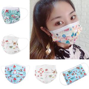8 Design Enfants Respiratoire Masque Visage de Noël à usage unique avec boucle d'oreille élastique 3 Ply respirante pour bloquer la poussière de l'air Masque anti-pollution