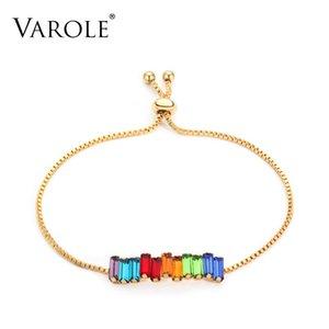 7 pulgadas VAROLE (tamaño ajustable) regalos de la joyería del arco iris de cristal pulseras de los brazaletes del color oro de colores pulsera de moda femenina por un