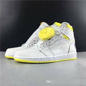 1 أحذية عالية OG الدرجة الأولى لكرة السلة الطيران الأبيض الحيوي ليمون أصفر 1S رجل احذية رياضية رياضية
