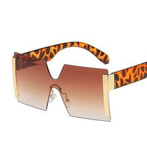 Мода Крупногабаритные Rimless Солнцезащитные очки Женщины площади Итальянская марка Design Солнцезащитные очки One Piece очки Оттенки Мужчины UV400
