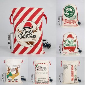 Canvas 11 Bags Large Styles Xmas Sack Gift Christmas Candy Bag Santa Sack Christmas Bag Reindeer Stocking Storage Merry Sea Shipping DD Wpvh