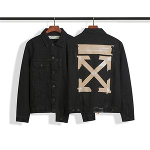 Autumn and Winter new OW basic yellow tape arrow cordon arrow washed old denim jacket jacket jacket