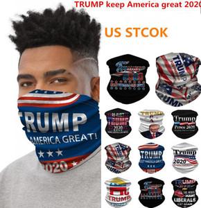 AZIONE DEGLI STATI UNITI 2020 Maschere US Flag Sciarpa di riciclaggio unisex Bandana Moto Sciarpe Foulard collo maschera di protezione esterna Trump mantenere l'America Grande FY6068