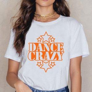 Tops T Shirt Mulheres Crazy Dance With Stars Humor algodão branco Feminino shirt