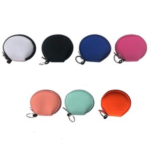Neoprene Waterproof Zipped Coin Pouch Mask Holder Sunflower Leopard Earbud Case Earphone Pouch Face Mask Storage Bags SN3339