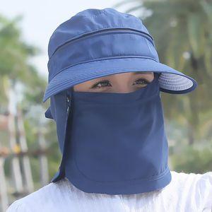 Yaz Güneş UV Koruma Kadınlar Katlanabilir Sunlight Koruma Geniş Brim Şapka Yüz Boyun Yürüyüş Plaj Açık Hat Cap