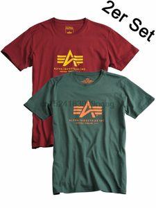 Alpha Industries di base T-shirt Doppelpack 100501 2er Set Benzina + Borgogna # 6126