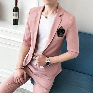 Summer Suits 2020 Mens Plaid Suits Social Club Outfits Fashion Suit For Mens Casual Clothing Business Suit 2 Pcs Set Prom