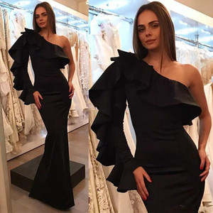 Sexy One Shoulder Mermaid Evening Dresses Pleat Long Sleeve Ruffles Floor length Formal Prom Dress Evening Gowns Wear Robes
