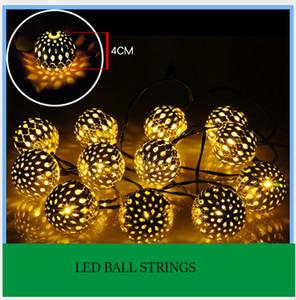 Fas 10 Led Güneş String Işık Demir Sanat Gümüş Top Dize Lamba Gömme Çim Lambası Garden Park Avlu Dış Dekorasyon Aydınlatma