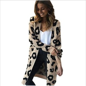 HELIAR Women Leopard Cardigans Knitted Sweater V-Neck Sexy Cashmere Sweaters and Cardigans Elegant All-Match Jackets Women
