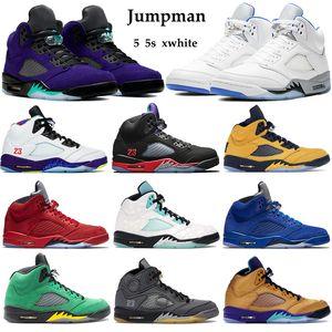 Popularr 5 5S는 Jumpman 농구 신발 남성 여성 대체 포도 하이퍼 왕실 2006 트레이너 대체 벨 항해 검은 모슬린 Sneake을 xwhite