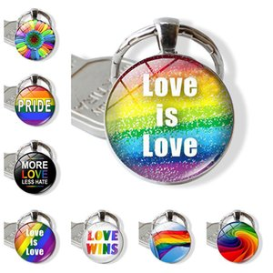 WG 1pc Fashion Gay Pride Time Gem&stone Cabochon Keychain Keyrings Metal Glass Ball Keychain Pendant Jewelry Accessories