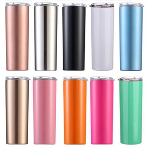 Skinny Tumbler 20oz Stainless Steel Double Wall Tall Wine Glasses Slim Vacuum Insulated Cup With Seal Lids