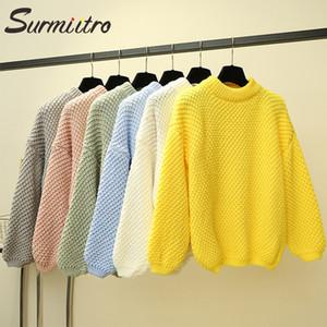 SURMIITRO Strick Herbst-Winter-Strickjacke-Frauen 2020 Lady Korean Lange Lantern Sleeve Pullover Pullover weiblich Gelb Blau Strick Y200909