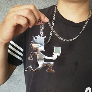 "Cool Men High Quality Hatchetman""Joker Card"" Shiny Polished Stainless Steel Necklace pendant w 40 inch 6mm Figaro Chain necklace"