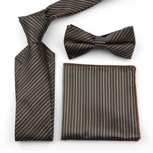 Rayas de tela escocesa de Paisley punto 100% poliéster traje de 7cm corbata Conjunto Oficina hombres de negocios agradable del lazo formal del pañuelo de la mariposa de BowTie