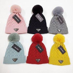 2020 Nouveau femmes hiver laine Chapeau Fausse fourrure de lapin boule Bonnet tricot chaud Chapeau 6 couleurs