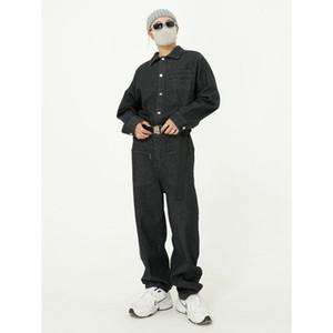 Men Belt Long Sleeve Casual Denim Jumpsuit Cargo Pant Jeans Male Streetwear Hip Hop Overalls Jumpsuits Trousers