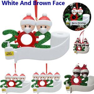 2020 resina de árbol de Navidad Decoración colgante colgante DIY Familia personalizada de 4 5 6 7 ornamento con máscaras Nombre de bricolaje de Navidad Bendiciones HH9-3274