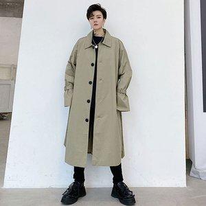 Япония Корея Стиль Мужской Trenchcoat куртка Пара ветровка пальто Верхняя одежда Мужчины Женщины Vintage Повседневная Сыпучие Длинные пальто