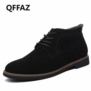 QFFAZ Brand Male Suede Leather Men Shoes Men Boots Solid Casual Leather Autumn Winter Ankle Boots Plus Size 38 45 Boots No 7 Bootie Fr ifnc#