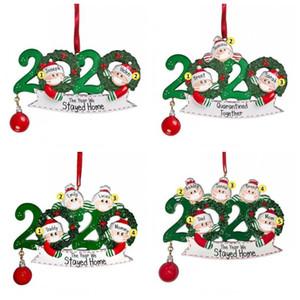 С Рождеством елочных DIY Имя Вуд украшения 2020 Маска Санта-Клаус семья из 2 3 4 5 6 Outdoor Decor 8XF H1