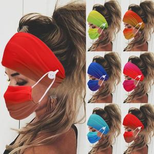 2 шт / Set Unisex оголовьем Кнопка Спорт Йога Эластичная повязка для ношения маски Женщины Мужчины Ear Защитный уборов