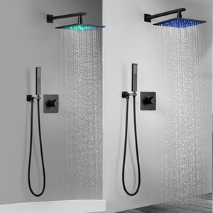 Modern 10 inch Bathroom Hotel Wall Mounted Square Rain Shower Head RGB Color Change Led Rain Black Shower Faucet Sets