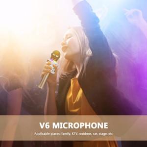 Inalámbrica Bluetooth V6 micrófono de mano Mic del altavoz del Karaoke con la Reunión recargable Interruptor silenciar los micrófonos USB