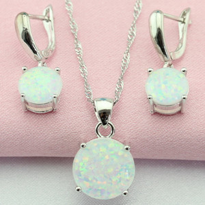 Fantastic White Australia Opal Silver Color Jewelry Sets Bijouterie Drop Earrings Pendant Necklace For Women Free Gift Box MX200810