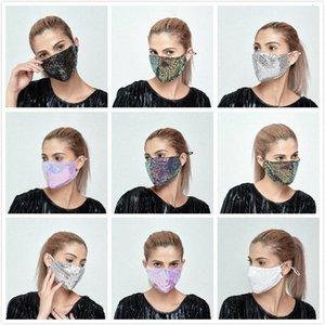 6 Coton Sequin visage mince couleurs Masques pour les femmes Tissu respirant anti-poussière lavable soleil Creen réutilisable Masque Dhb177 N9qw #