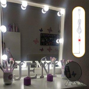 Maquillaje USB del LED 12V Bombilla Espejo Espejo Hollywood Faro de atenuación de tres luces del color del maquillaje de la noche del tacto de entretiempo de Inicio