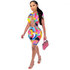 Open Back Clothing Street Style Skinny Shorts Rompers Womens Designer Bandage Paint Graffiti Jumpsuits Sexy Summer