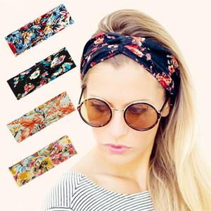 H: HYDE Femmes Fleur Bandeau Floral Prints élastique Turban Croix Noeud cheveux Large Bande stretch Accessoires cheveux filles Hairband