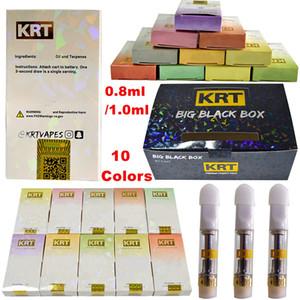 Cerâmica KRT Vape Cartuchos 0,8ml Bobina Atomizador Dica ouro pirex de vidro tanque de óleo Dab Mais recente 10 estirpes Wax vaporizador E-Cigarros Kits vazio