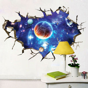 3D Broken Wall universe Galaxy Scenery Seascape Island Coconut Trees Household Adornment Can Remove The Wall Stickers Room Decalsui0102