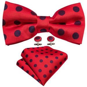 Свадебный Боути красный шелковый галстук-бабочка Узел Мужские Dots Bowties Pre-Tied Bow Tie Set Платок Запонки Barry.Wang LH-912