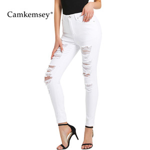 CamKemsey Plus Size Jeans stretch Skinny blanc Femme Printemps 2020 Automne Casual taille haute Holes Ripped moulantes Crayon Jeans