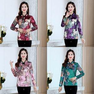 estilo McxgD 2020 y otoño de terciopelo nuevo oro de manga larga blusa chaqueta cheongsam mejorado cheongsam impresa de las mujeres Western Spring superior para mi