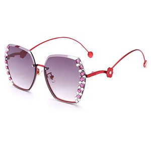 JASPEER Mujer Rhinestone lateral gafas de sol de las mujeres del diamante colorido del vidrio de Sun de lujo sin rebordes retro Degradado lente señora de los hombres Gafas